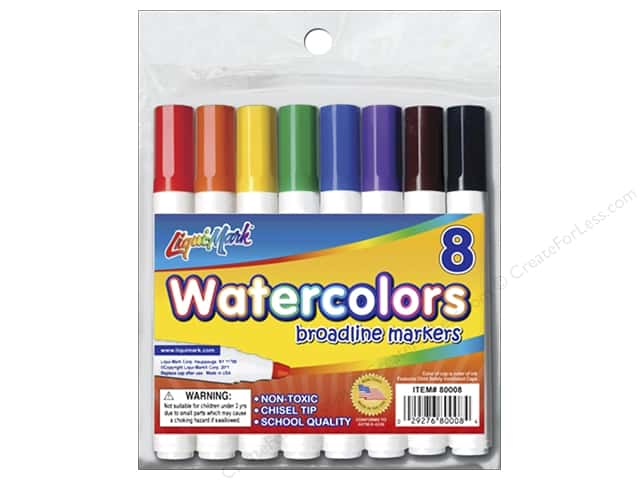 Liquimark Markers Set Broad Chisel Tip Watercolor Pouch 8pc