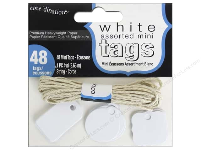 Coredinations Tags Mini With String White 48pc