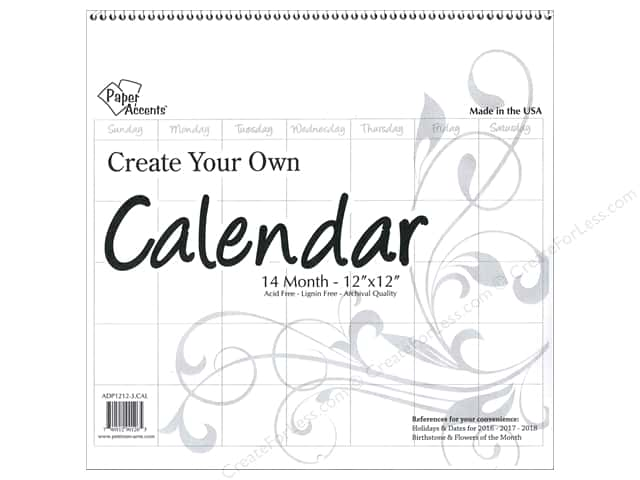 Paper Accents Calendar Create Your Own 12 x 12 in. 14 Month Blank White