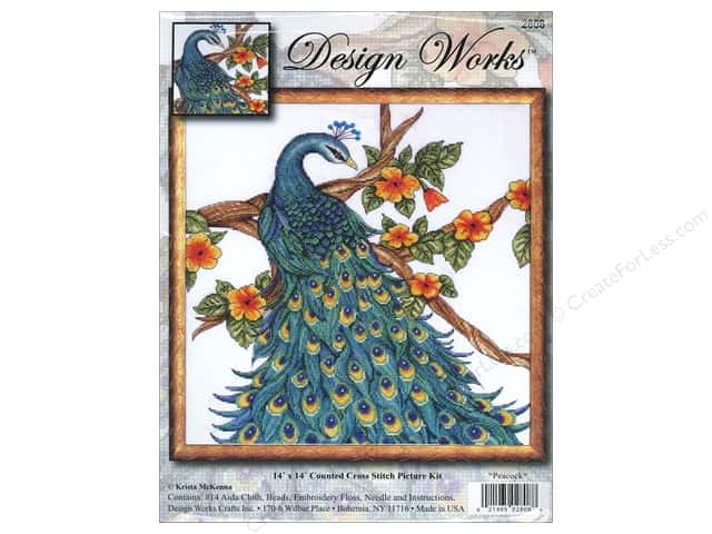 Design Works Cross Stitch Kit 14 x 14 in. Peacock
