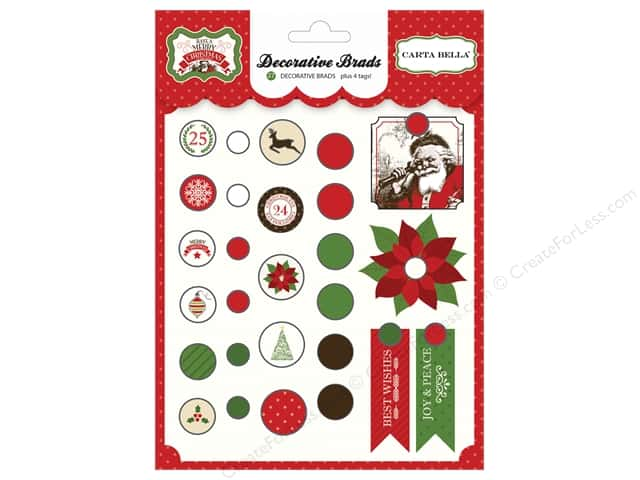 Carta Bella Decorative Brads Have A Merry Christmas