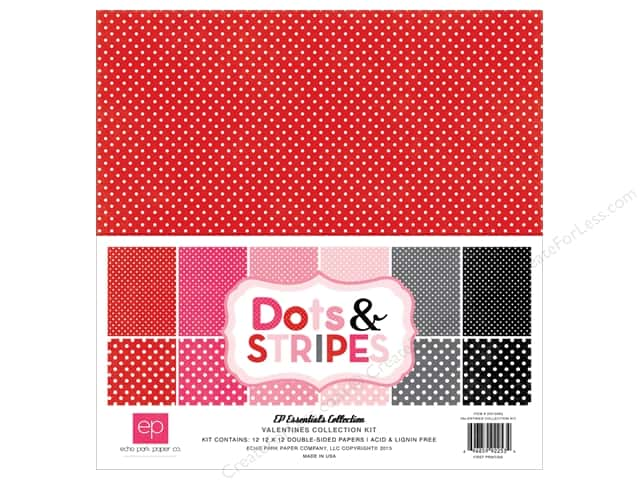 Echo Park 12 x 12 in. Collection Kit Dots & Stripes Valentine