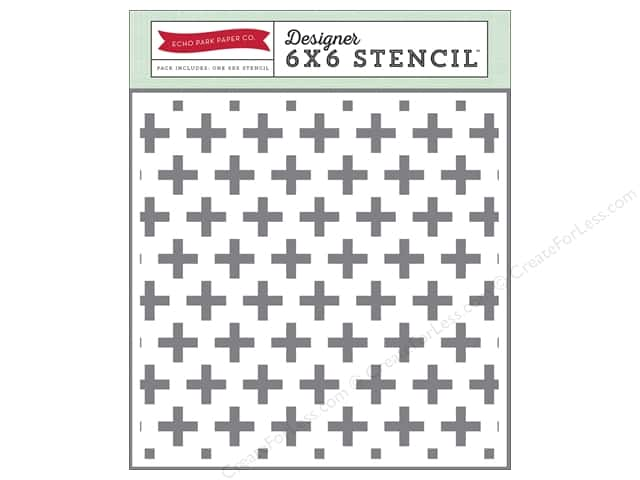 Echo Park Designer Stencil 6 x 6 in. The Story Of Christmas Collection Swiss Cross
