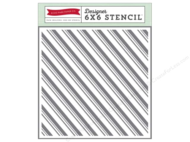 Echo Park Designer Stencil 6 x 6 in. Story Of Christmas Collection Candy Cane Stripe