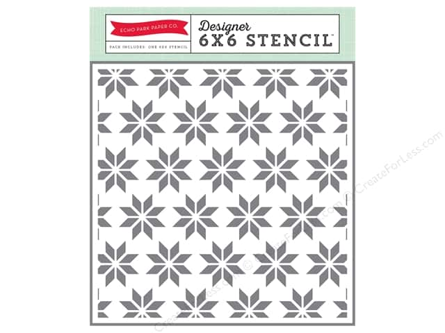 Echo Park Designer Stencil 6 x 6 in. Hello Winter Collection Holiday Quilt