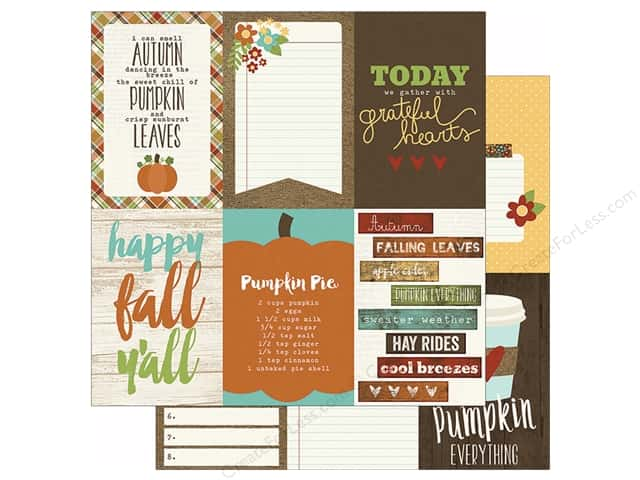 """Simple Stories Pumpkin Spice Collection Paper 12""""x 12"""" Vertical Journal Card Elements 4""""x 6"""" (25 sheets)"""