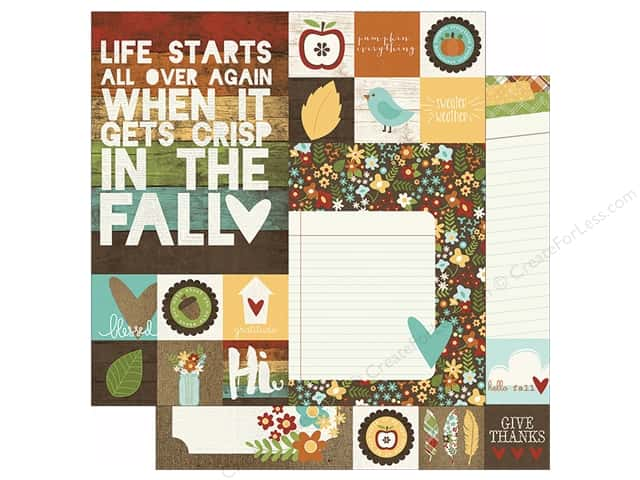 "Simple Stories Pumpkin Spice Collection Paper 12""x 12"" Element 2""x 2"" & 6""x 8"" (25 sheets)"