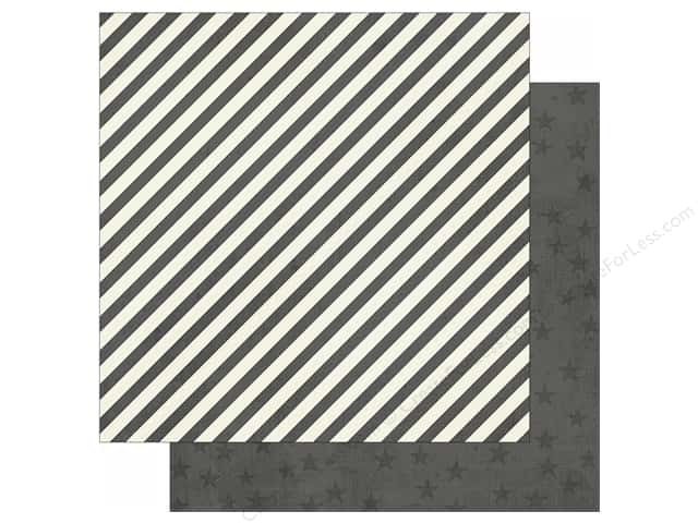 Simple Stories 12 x 12 in. Paper Claus & Co Charcoal Stripes & Stars (25 sheets)