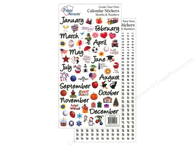 Paper Accents Stickers Calendar Months & Numbers Large Color