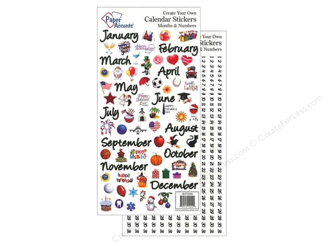 Paper Accents Stickers Calendar Months & Numbers Medium Color