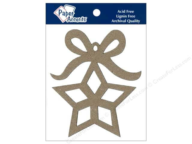 Paper Accents Chipboard Shape Ornament Star with Bow 6 pc. Kraft