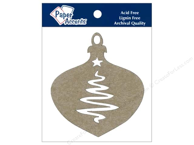 Paper Accents Chipboard Shape Ornament with Tree 6 pc. Kraft