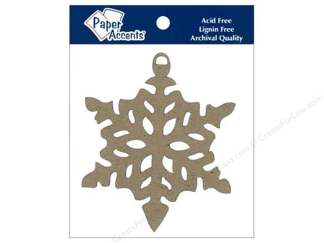 Paper Accents Chipboard Shape Ornament Snowflake 6 pc. Kraft