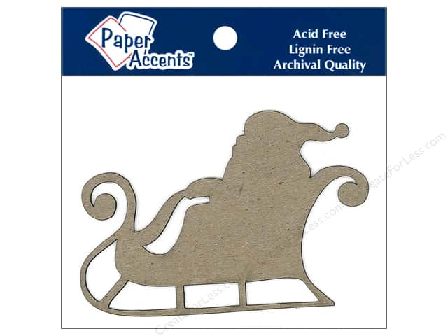 Paper Accents Chipboard Shape Sleigh with Santa 6 pc. Kraft