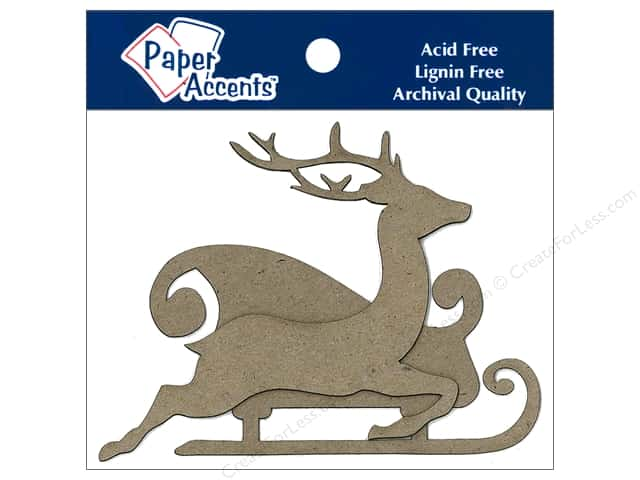 Paper Accents Chipboard Shape Sleigh with Reindeer 8 pc. Kraft
