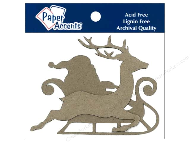Paper Accents Chipboard Shape Sleigh with Santa & Reindeer Natural 8 pc.