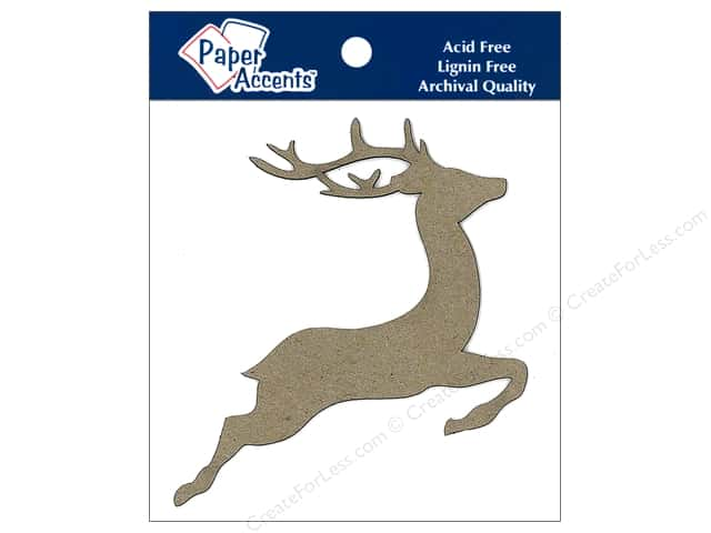 Paper Accents Chipboard Shape Reindeer 8 pc. Kraft