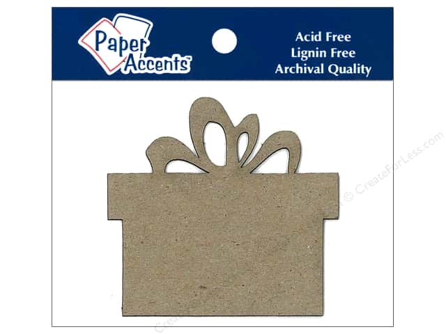 Paper Accents Chipboard Shape Present 8 pc. Kraft