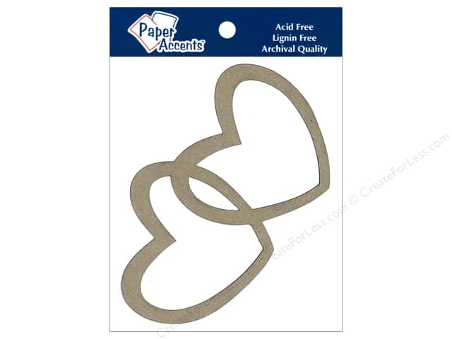Paper Accents Chipboard Shape Intertwined Hearts 4 pc. Kraft