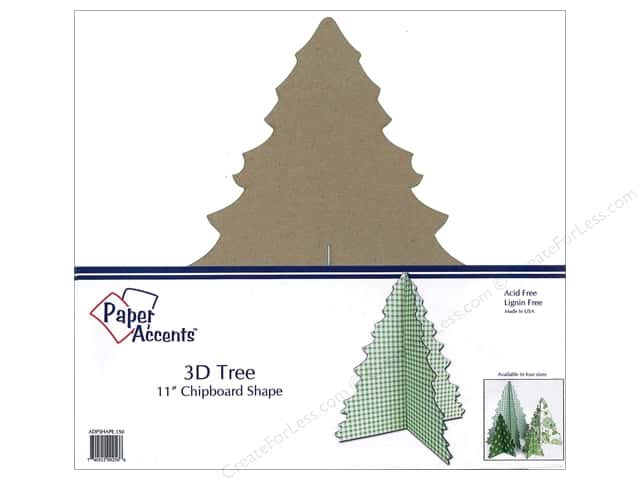 Paper Accents Chipboard Shape 11 in. 3D Tree 1 pc. Natural