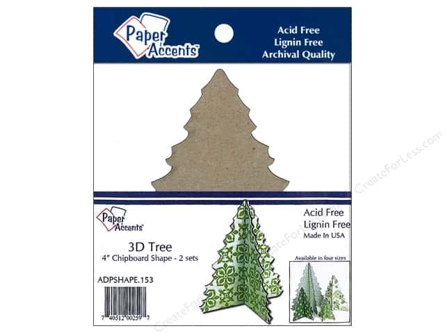 Paper Accents Chipboard Shape 4 in. 3D Tree 2 pc. Natural