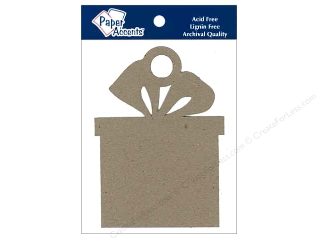 Paper Accents Chipboard Shape Present Ornament 6 pc. Kraft
