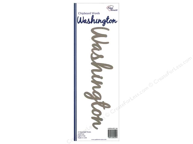 Paper Accents Chipboard Word Washington 4 pc. Kraft