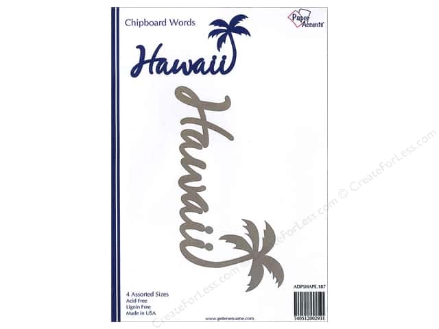 Paper Accents Chipboard Word Hawaii With Palm Tree 4 pc. Kraft