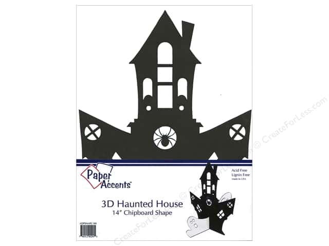 Paper Accents Chipboard Shape 12 in. 3D Haunted House 1 pc. Black
