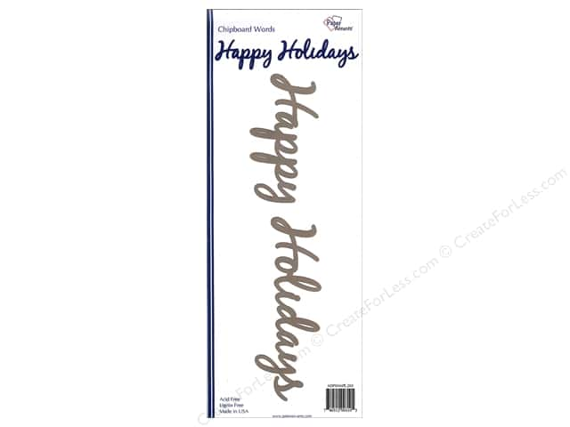 Paper Accents Chipboard Word Happy Holidays 1 Set Kraft