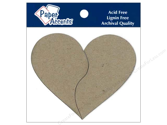 Paper Accents Chipboard Shape Pieces Of My Heart 6 pc. Kraft