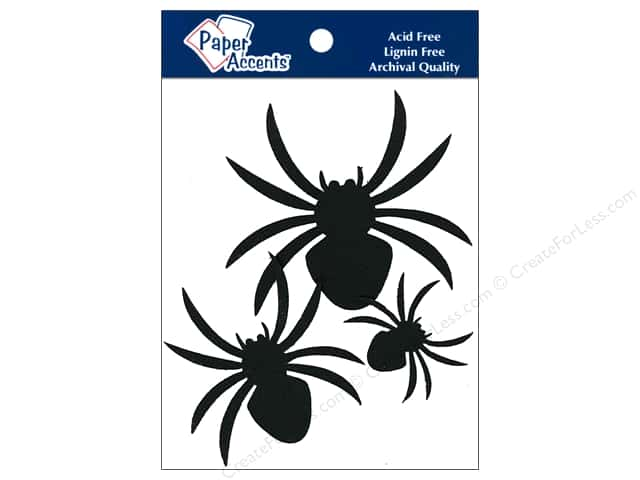 Paper Accents Chipboard Shape Spiders 10 pc. Black