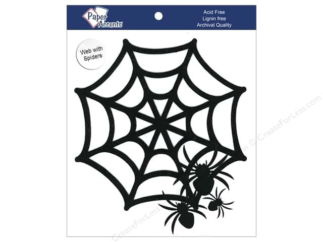 Paper Accents Chipboard Shape Spider Web With Spiders 6 pc. Black