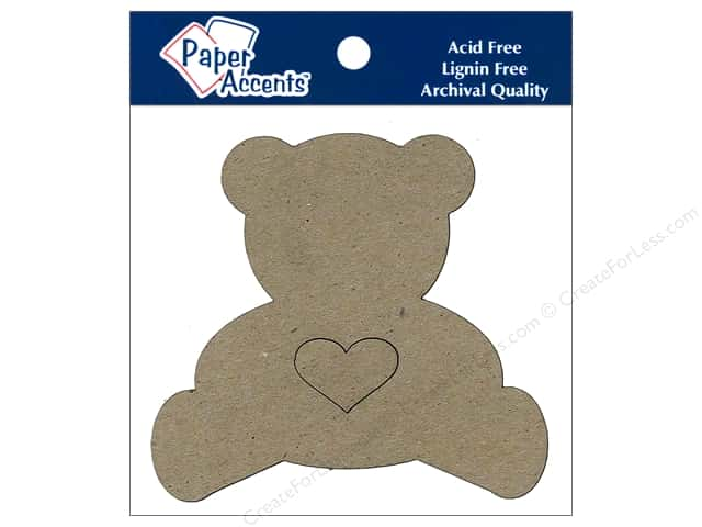 Paper Accents Chipboard Shape Teddy Bear With Heart 6 pc. Natural