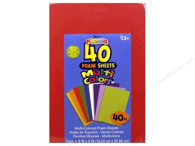 Darice Foamies Sheets Assorted Colors 6 in. x 9 in. 40 pc