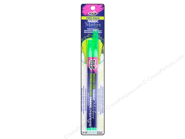 Tulip Fabric Marker Brush/Extra Fine Neon Green 2pc