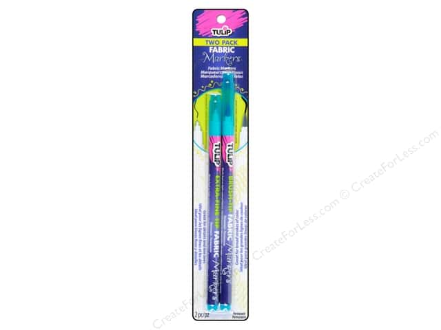 Tulip Fabric Marker Brush/Extra Fine Neon Blue 2pc