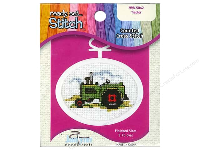 Janlynn Kid Stitch Cross Stitch Kit 2 3/4 in. Tractor