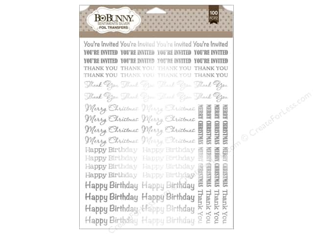 Bo Bunny Rub-Ons Foil Sentiments Silver