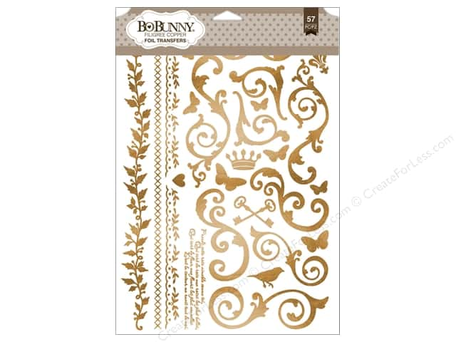 Bo Bunny Rub-Ons Foil Filagree Copper