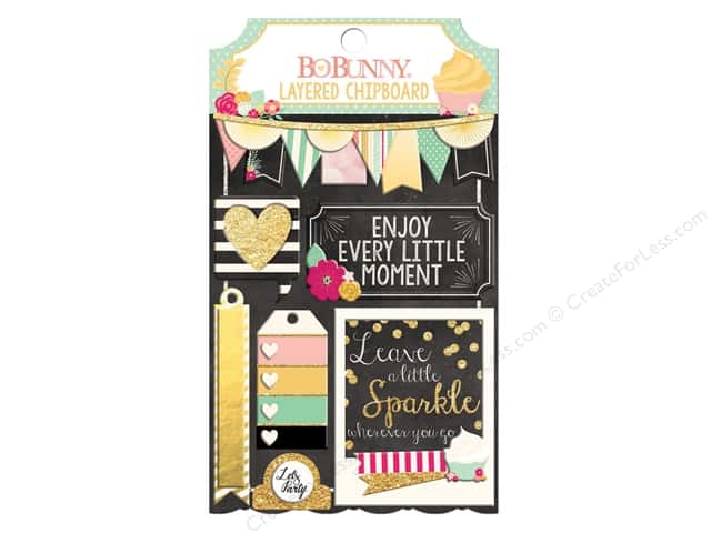 Bo Bunny Layered Chipboard Stickers You're Invited