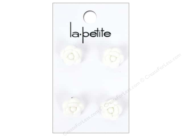 LaPetite Shank Buttons 1/2 in. White Rose #2087 4 pc.