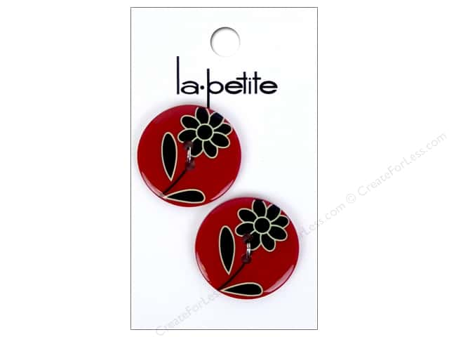 LaPetite 2 Hole Buttons 1 in. Red & Black #2119 2 pc.