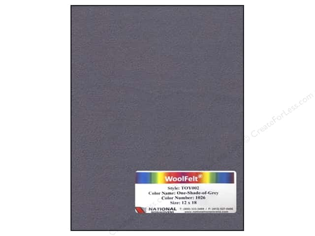National Nonwovens WoolFelt 12 x 18 in. 35%  One Shade Of Grey (10 sheets)