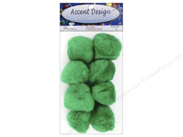 PA Essentials Pom Poms 2 in. Green 8 pc.
