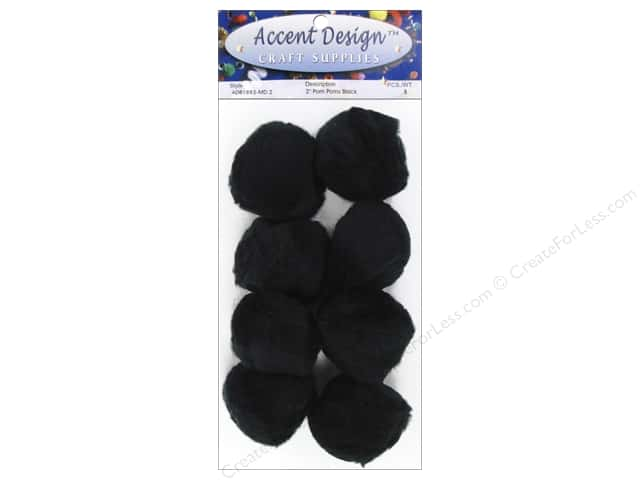 PA Essentials Pom Poms 2 in. Black 8 pc.