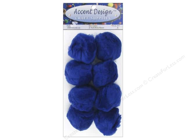 PA Essentials Pom Poms 2 in. Royal 8 pc.