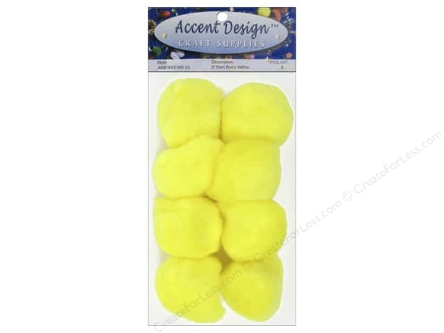 PA Essentials Pom Poms 2 in. Yellow 8 pc.