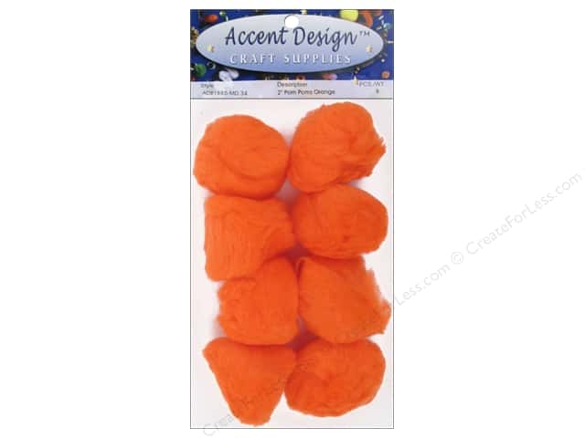 PA Essentials Pom Poms 2 in. Orange 8 pc.