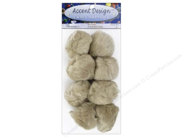 PA Essentials Pom Poms 2 in. Beige 8 pc.